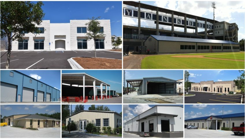 commercial steel building photo gallery collage