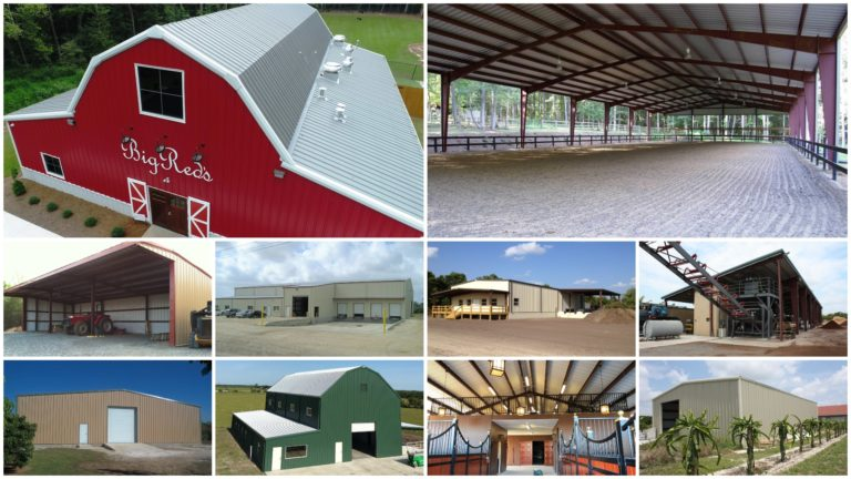 Metal barns, riding arenas, and agricultural buildings photo gallery collage.