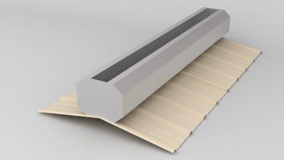 Metal building galvalume ridge vent.