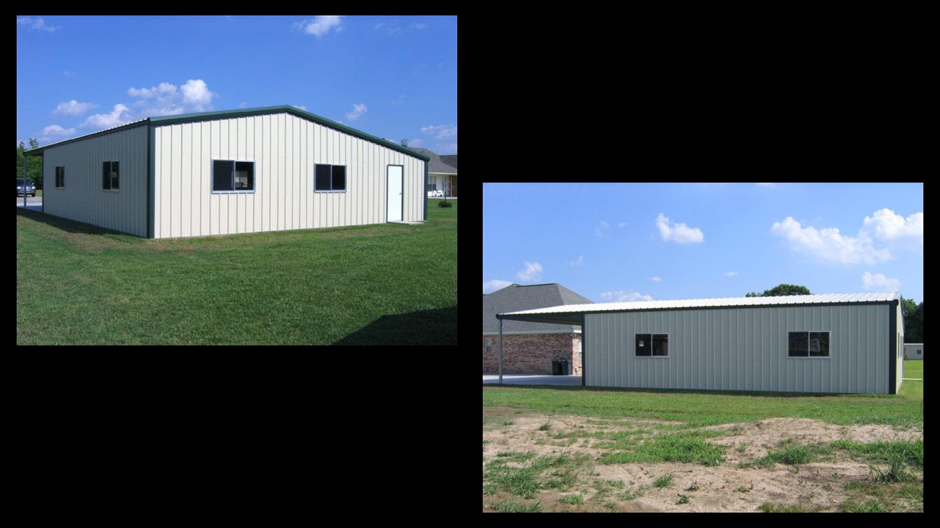Gable asymmetrical tan metal garage kit with green trim, inset bay, 4 windows and walk door.