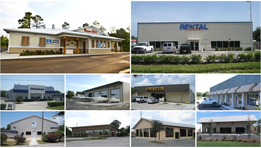 Retail metal building photo gallery collage.