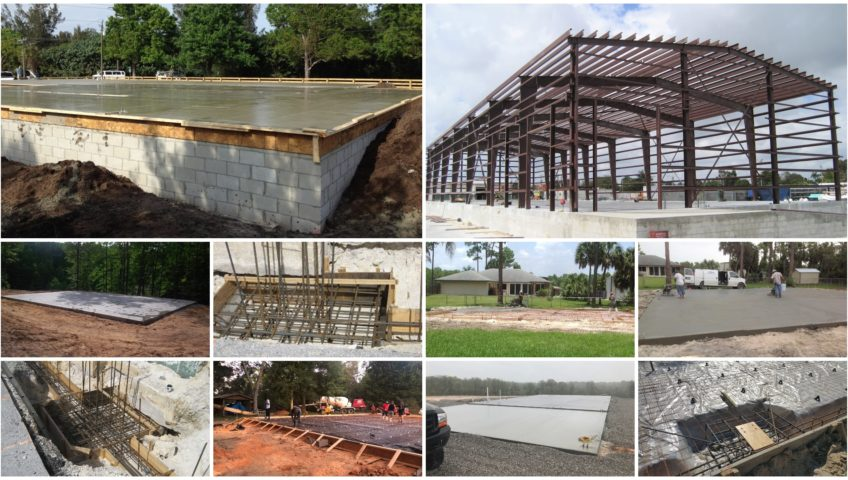 Metal building foundations photo gallery collage.